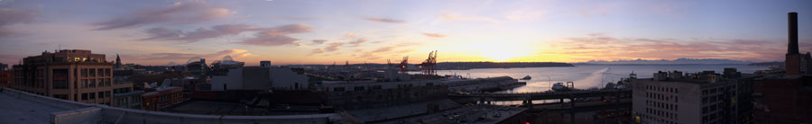 Panorama of Seattle waterfront at sunset